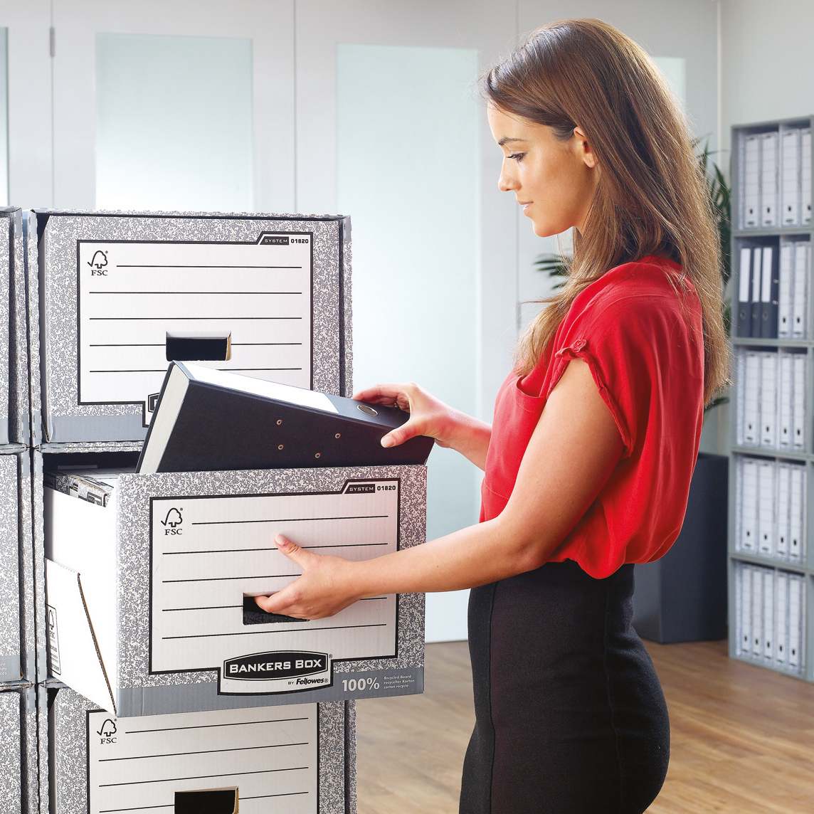 Bankers Box by Fellowes System Storage Drawer Stackable Grey/White FSC Ref 01820 Pack 5