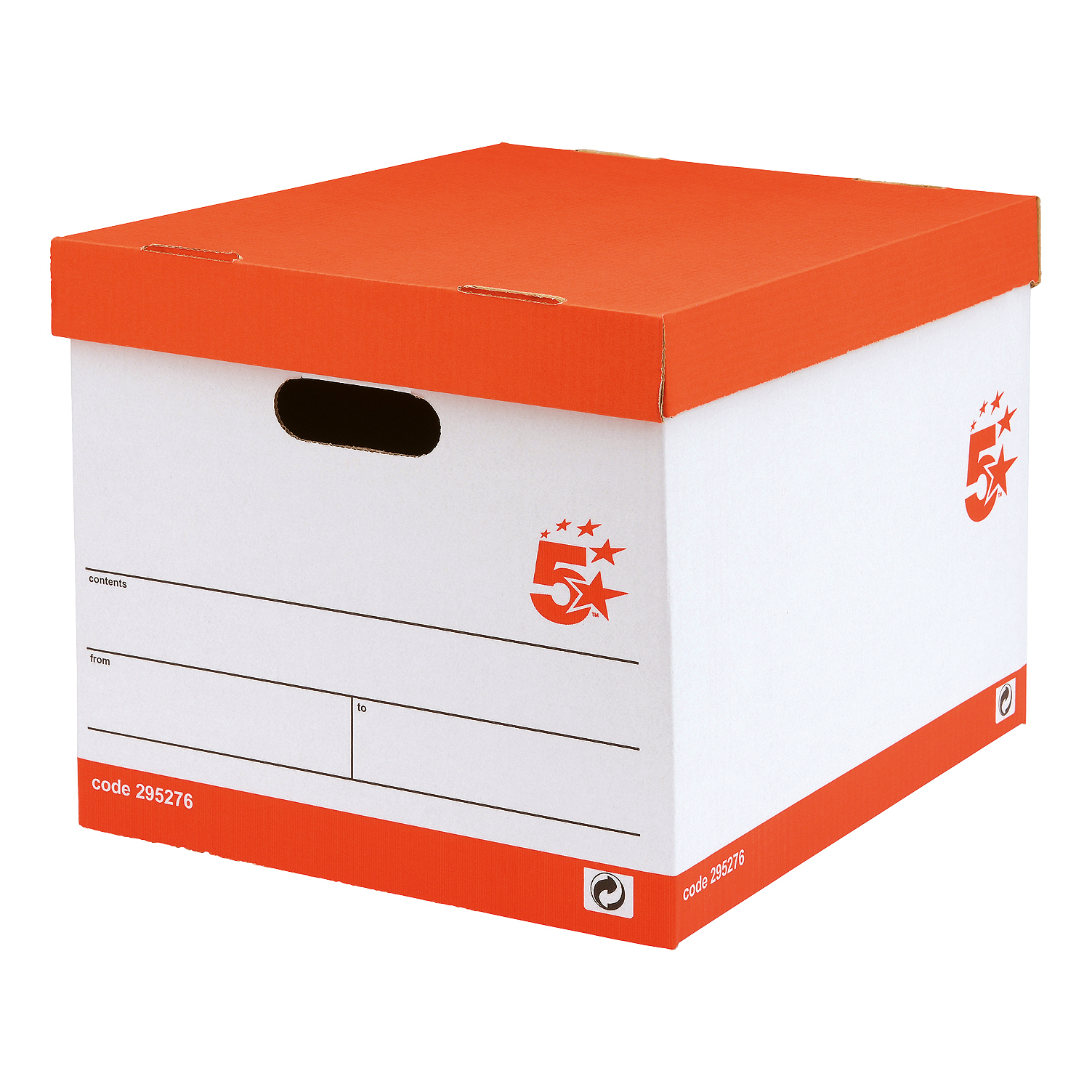 5 Star Office Storage Box Red & White FSC Pack 10