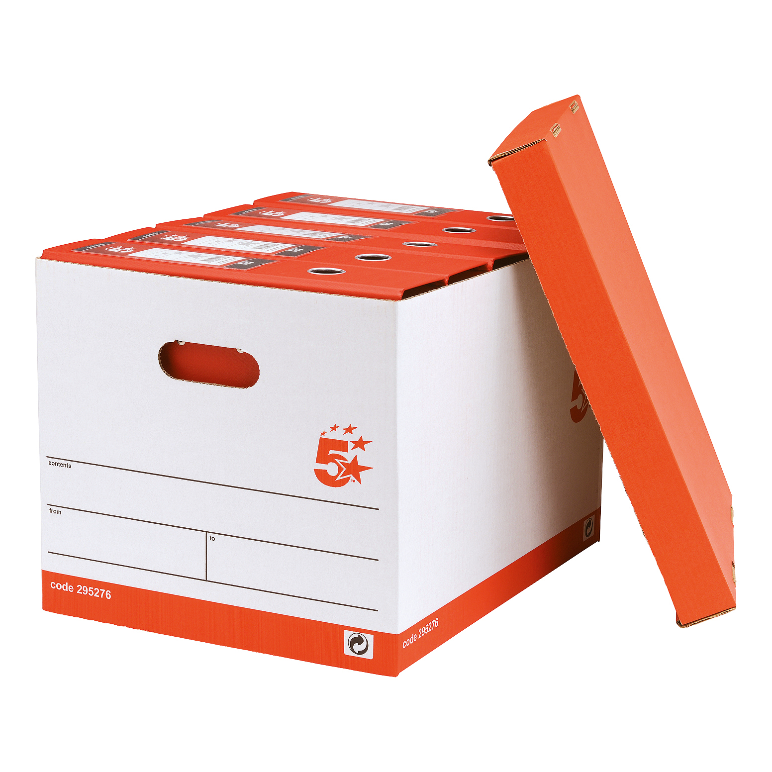 5 Star Office FSC Storage Box with Lid Self-assembly W321xD392xH291mm Red & White [Pack 10]