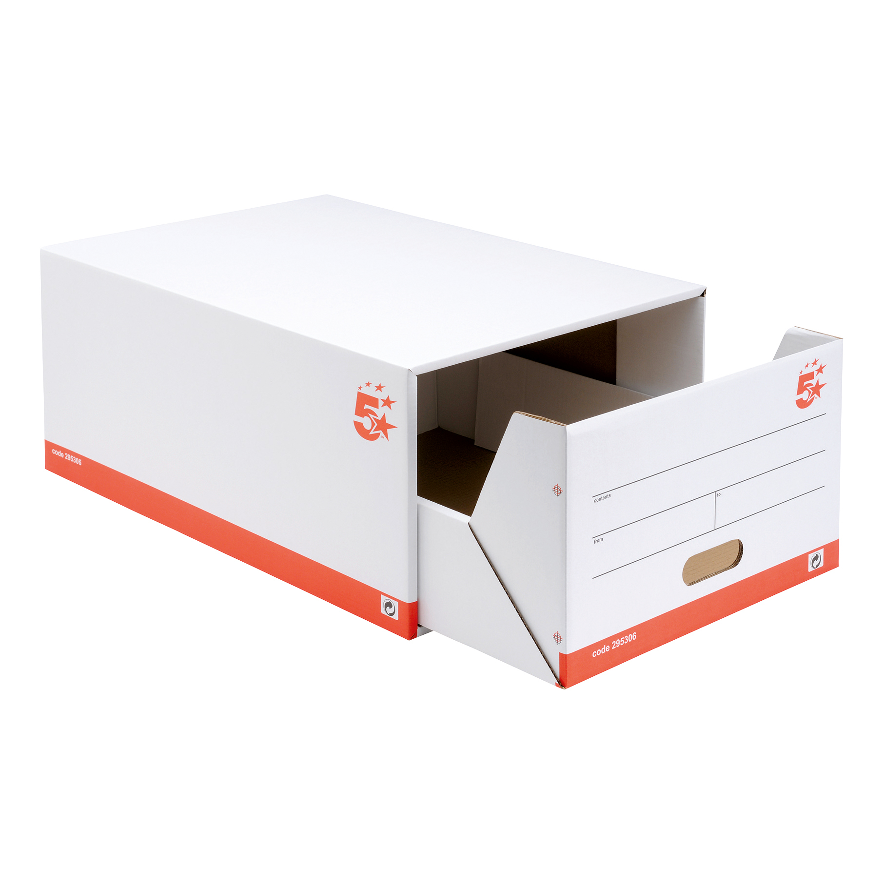 5 Star Office Archive Storage Drawer Red and White FSC [Pack 5]