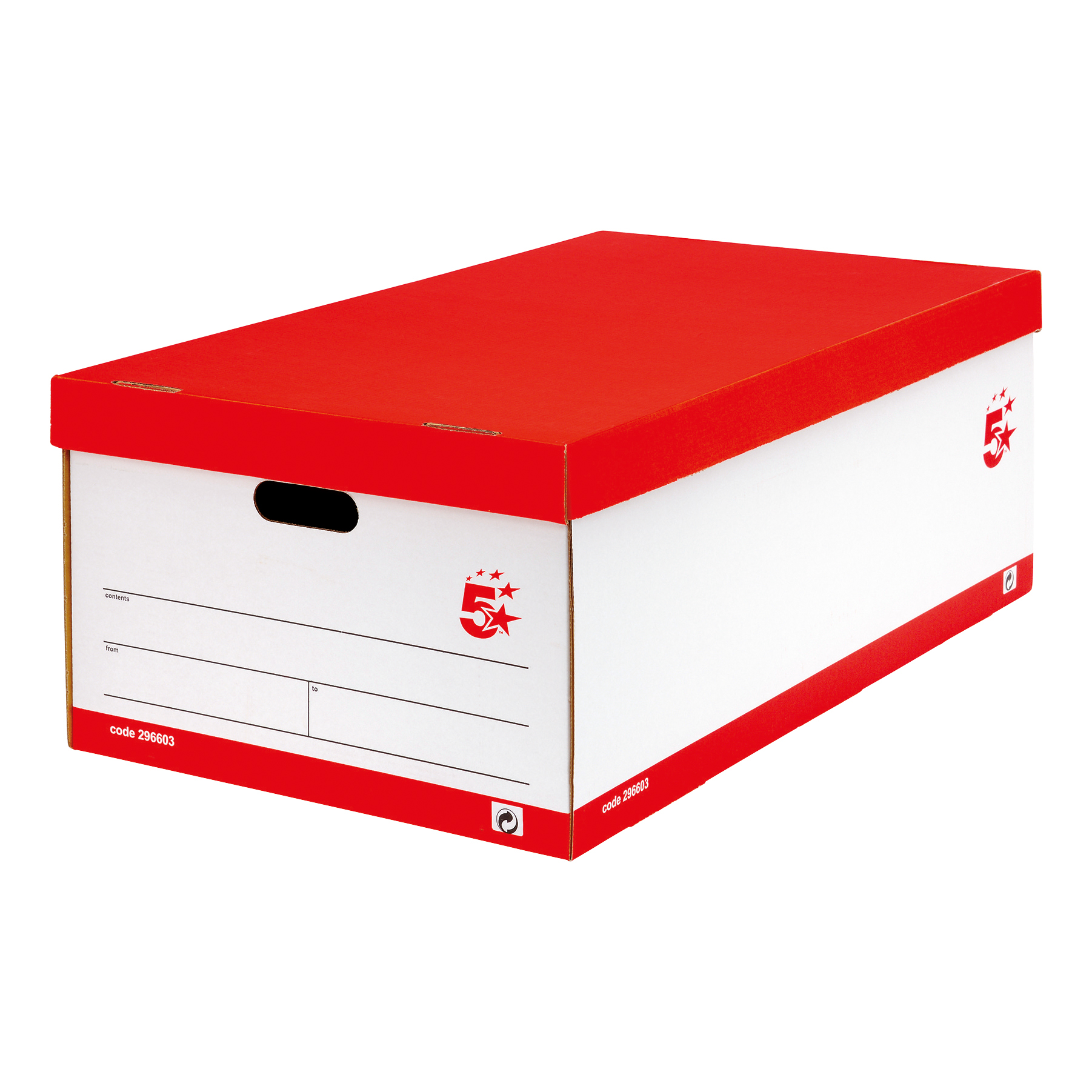 5 Star Office Jumbo Storage Box Red & White FSC [Pack 5]
