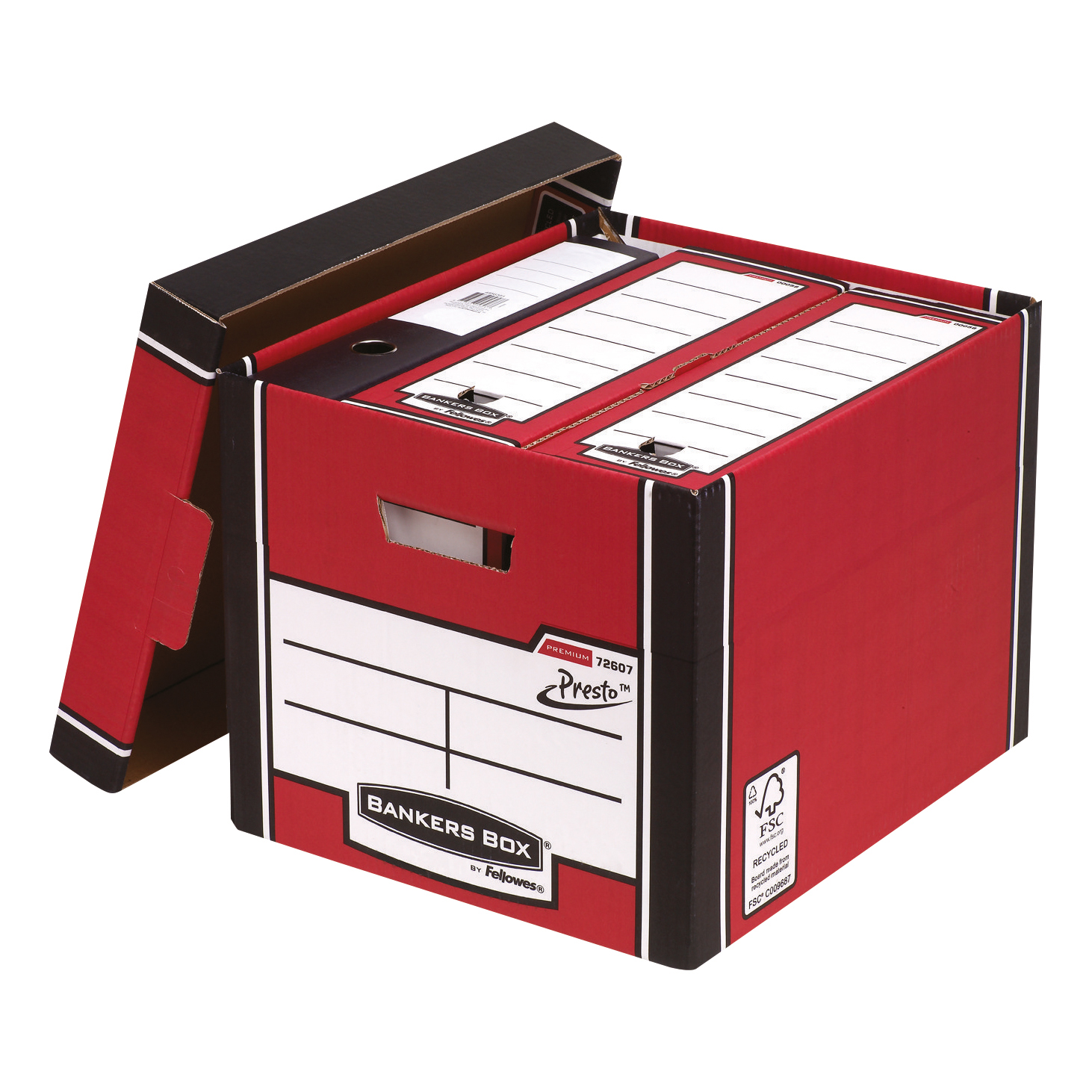 Bankers Box Premium Storage Box (Presto) Tall Red FSC Ref 7260701 Pack 10
