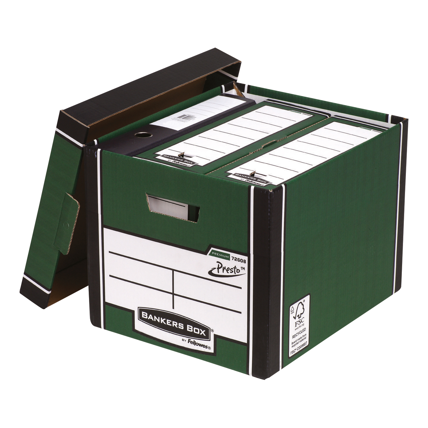 Bankers Box Premium Storage Box (Presto) Tall Green FSC Ref 7260802 Pack 10