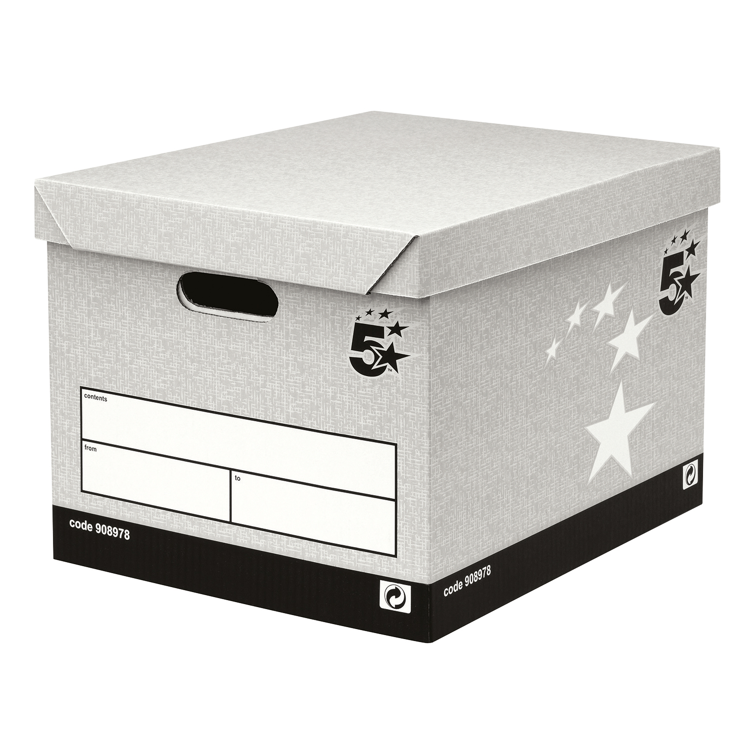 5 Star Facilities Storage Box Self-Assembly Grey FSC Pack 10
