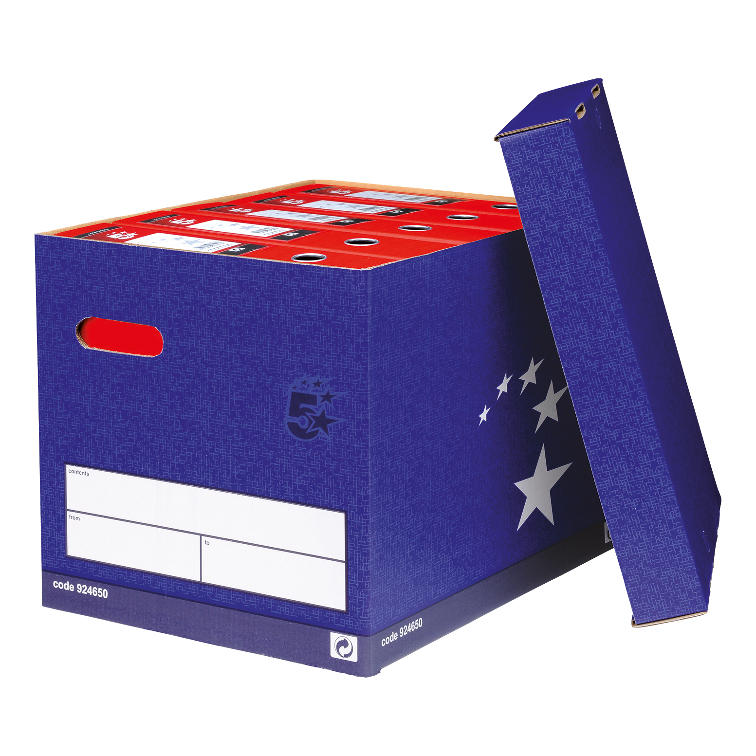 5 Star Elite FSC Superstrong Archive Storage Box With Lid Self-Assembly Foolscap Blue Pack 10