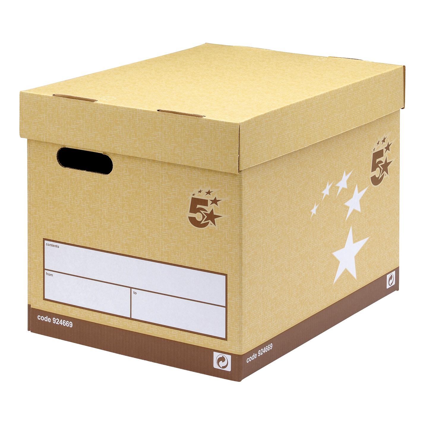 Storage Boxes 5 Star Elite FSC Superstrong Archive Storage Box & Lid Self-assembly W313xD415xH326mm Sand Pack 10