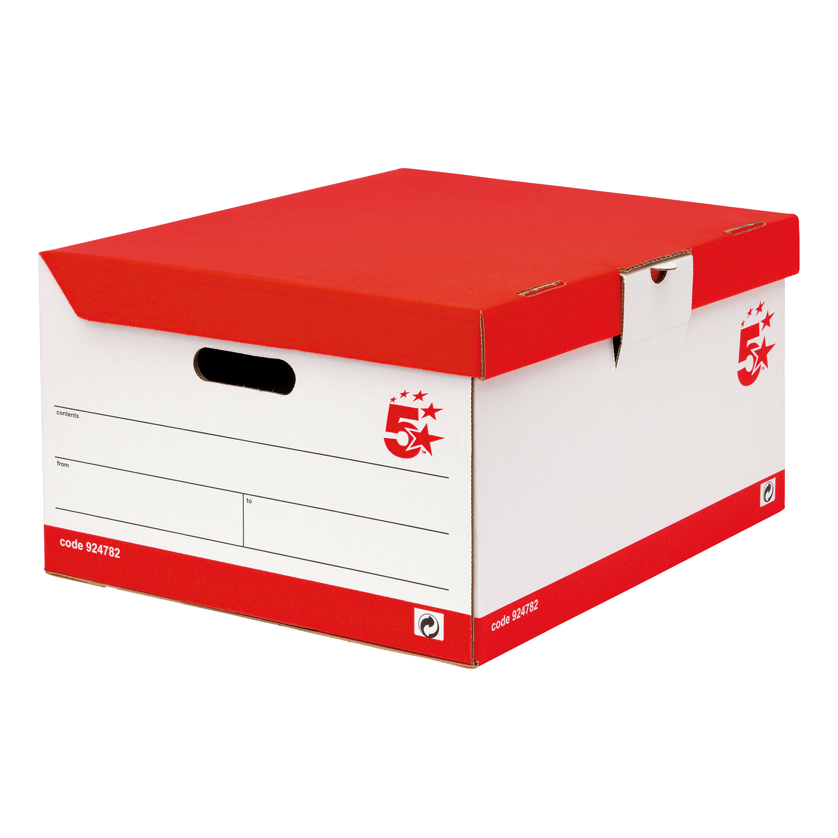 5 Star Office Storage Trunk Hinged Lid Red & White FSC Pack 10