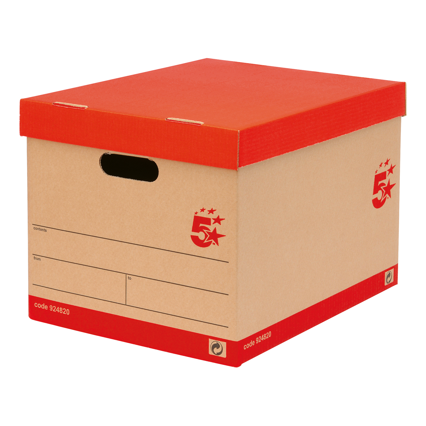 Storage Boxes 5 Star Office FSC Storage Box with Lid Self-assembly Kraft W321xD392xH291mm Red & Brown Pack 10