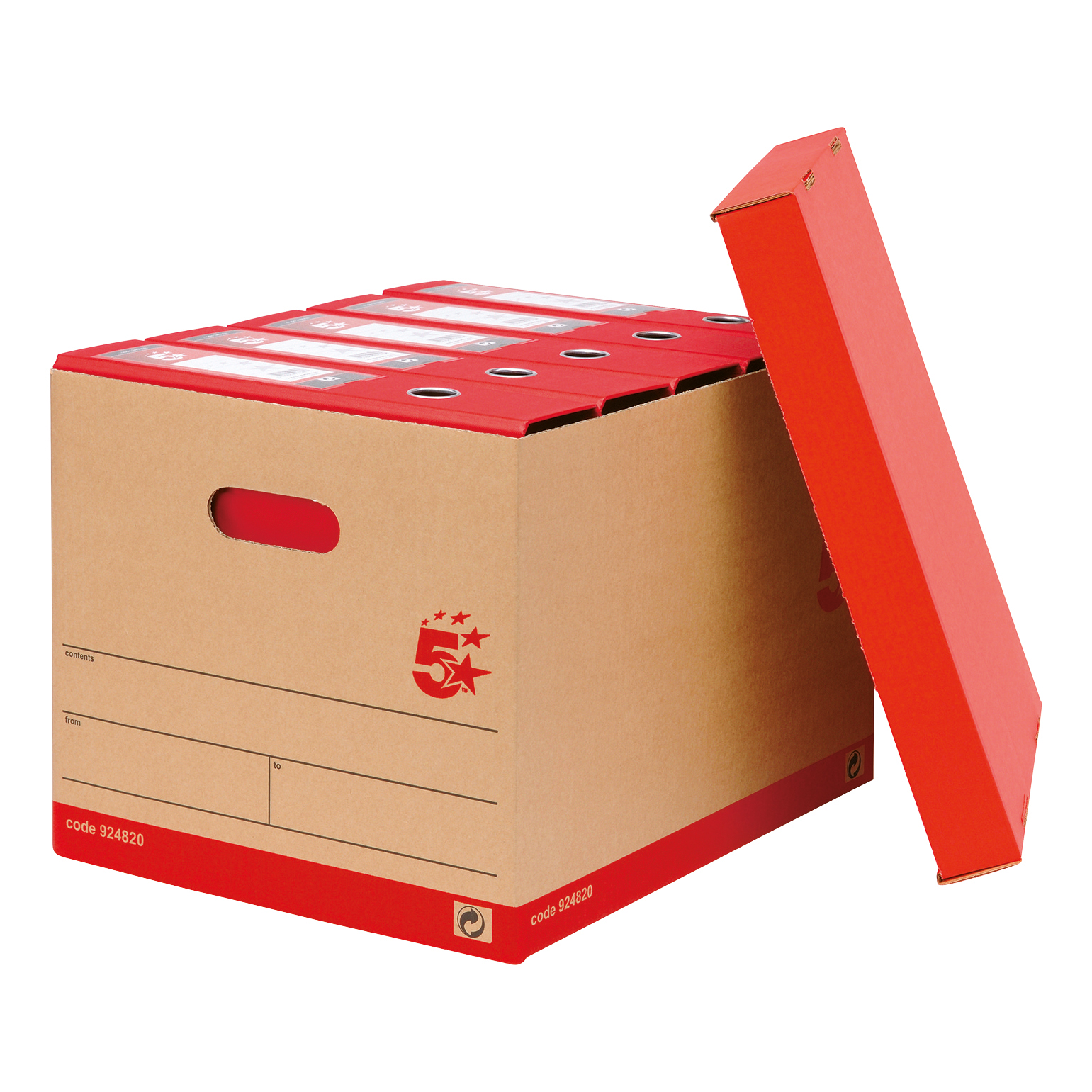 5 Star Office Storage Box Red & Brown FSC Pack 10