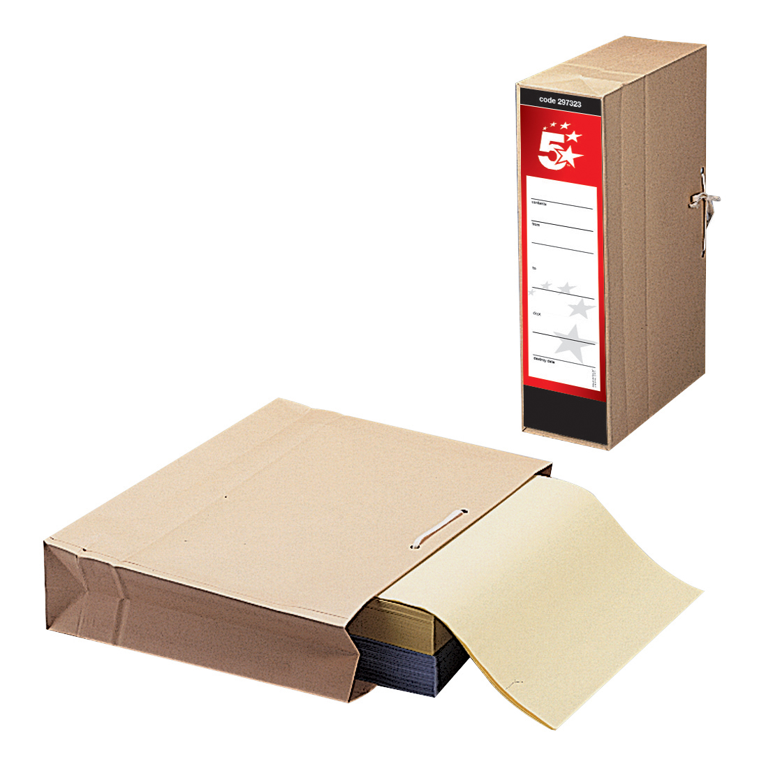 Transfer Files 5 Star Office FSC Storage Bag with Dust Flap Foolscap 102mm Capacity 356x248mm Pack 25