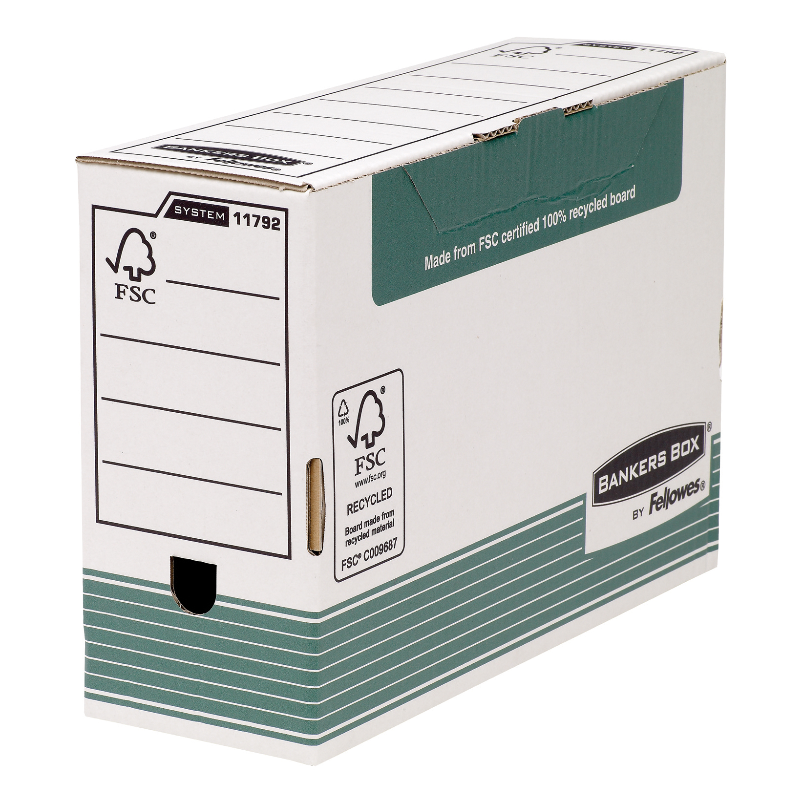 Fellowes Bankers Box Transfer File 120mm Green/White Ref 1179201 [Pack 10]