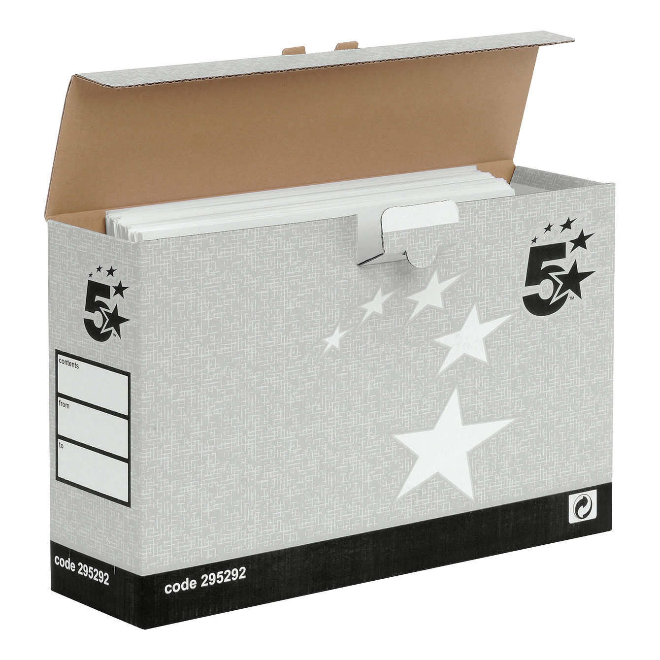 5 Star Facilities Transfer Case Hinged Lid Foolscap Grey Pack 10