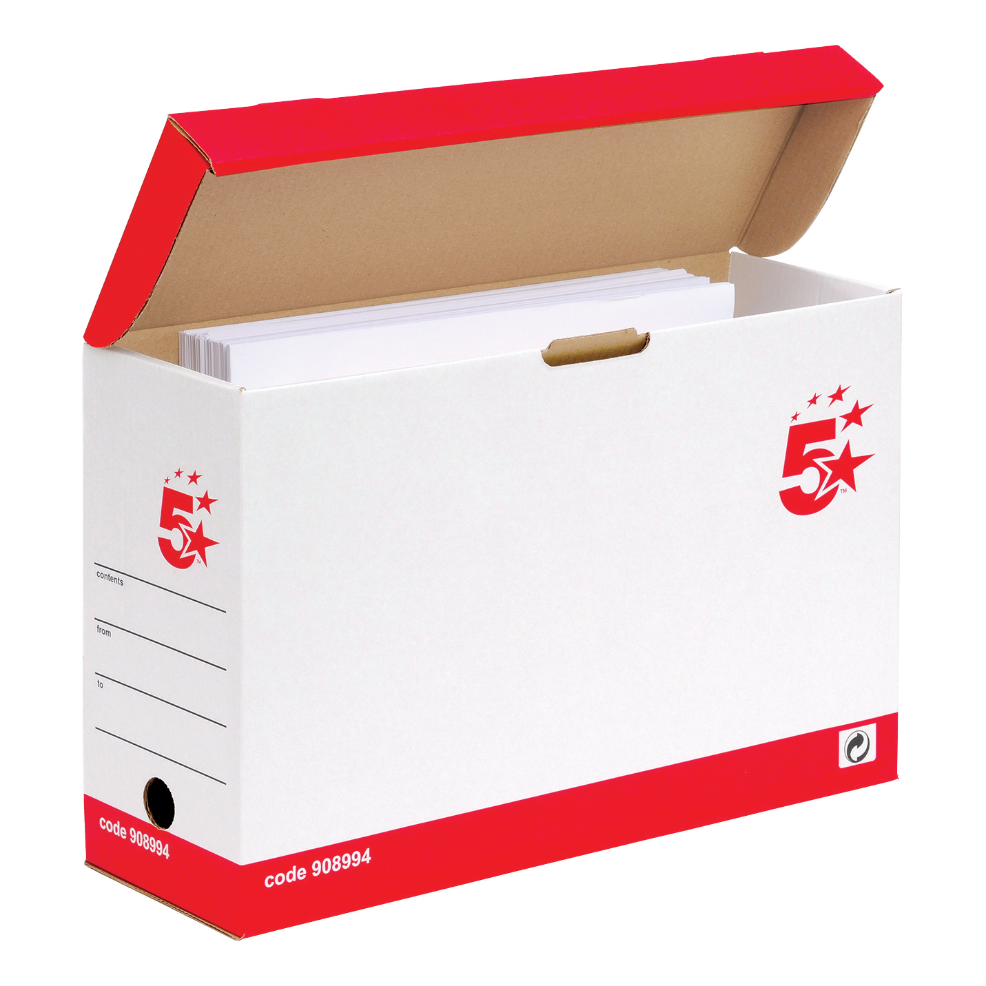 5 Star Office FSC Transfer Case Hinged Lid Foolscap Self-assembly W133xD401xH257mm Red & White [Pack 20]