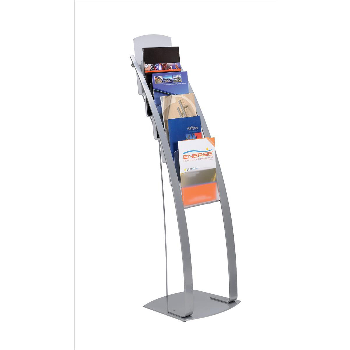 Deflecto Contemporary Literature Display Flr Stand 6x A4 Pkts 375x380x1260mm Slv Ref DE693145