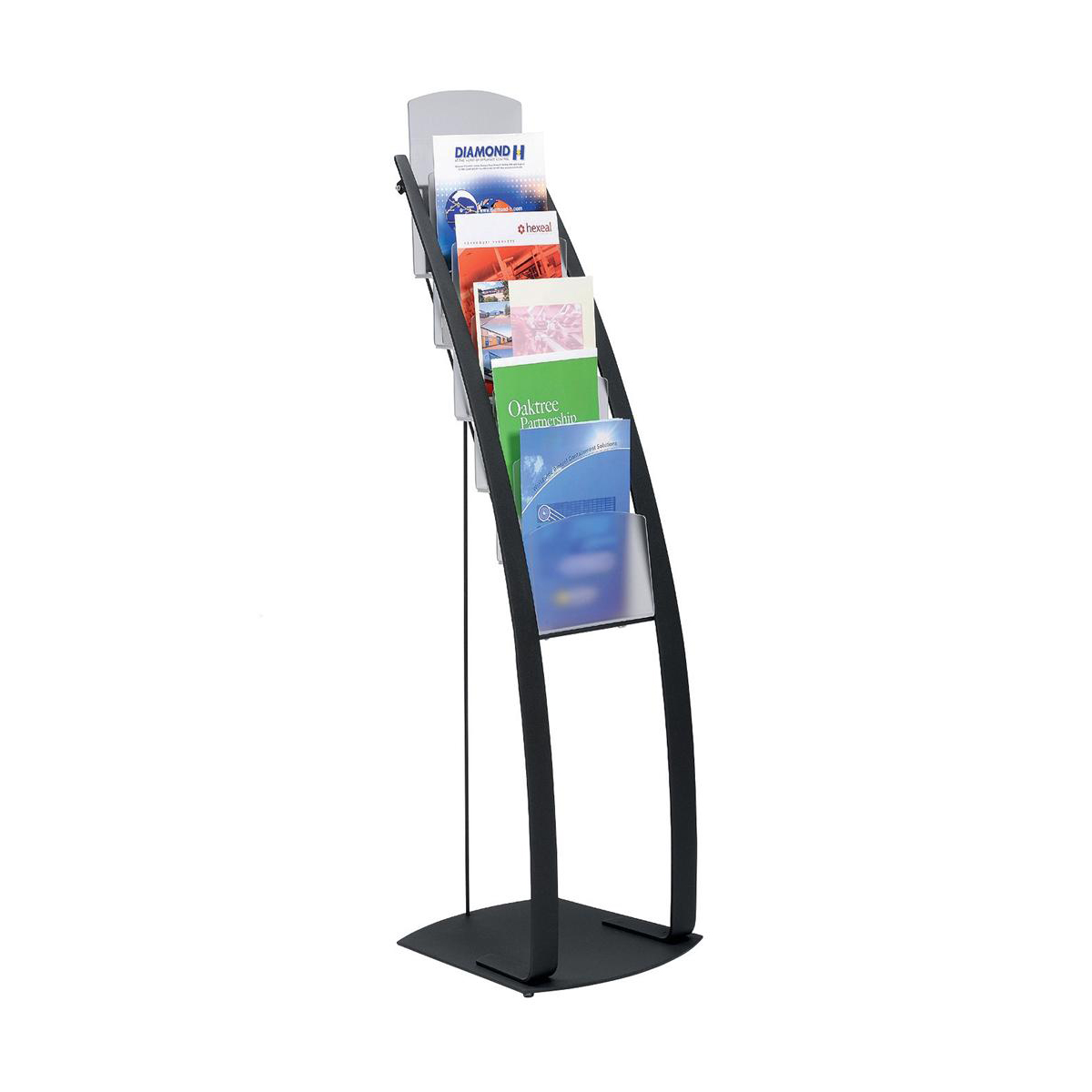 Literature Display Floor Stand 6 x A4 Pockets Black