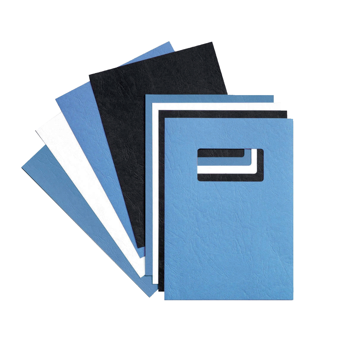 Cover Boards GBC Binding Covers Leatherboard Window 250gsm A4 Blue Ref 46735E [Pack 25x2]