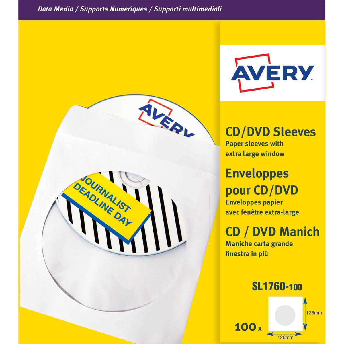 Cases Avery CD/DVD Paper Sleeves with clear window 126x126mm White Ref SL1760-100 Pack 100