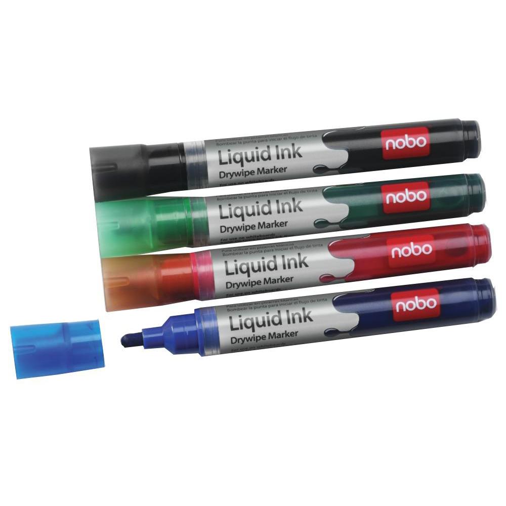 Nobo Marker Liquid Ink Dry-wipe W/bd/Flipchart/OHP Bullet Tip 3mm Line Wallet Asstd Ref 1901077 Pack 6