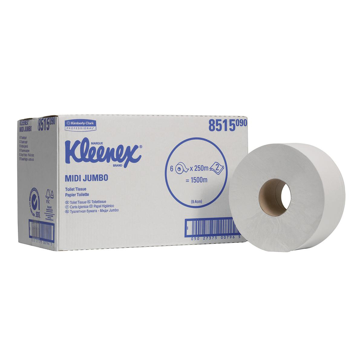 Kleenex Midi Jumbo Toilet Rolls 625 Sheet per roll 2-ply 400x94mm White Ref 8515 Pack 6