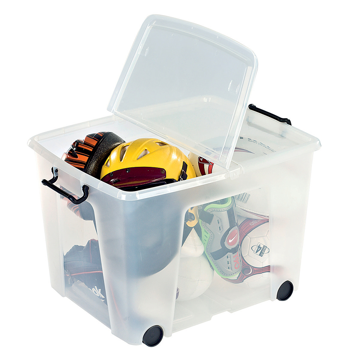 Storage Boxes Strata Smart Box Clip-On Folding Lid Carry Handles 75 Litre Clear with Black Wheels Ref HW676CLR