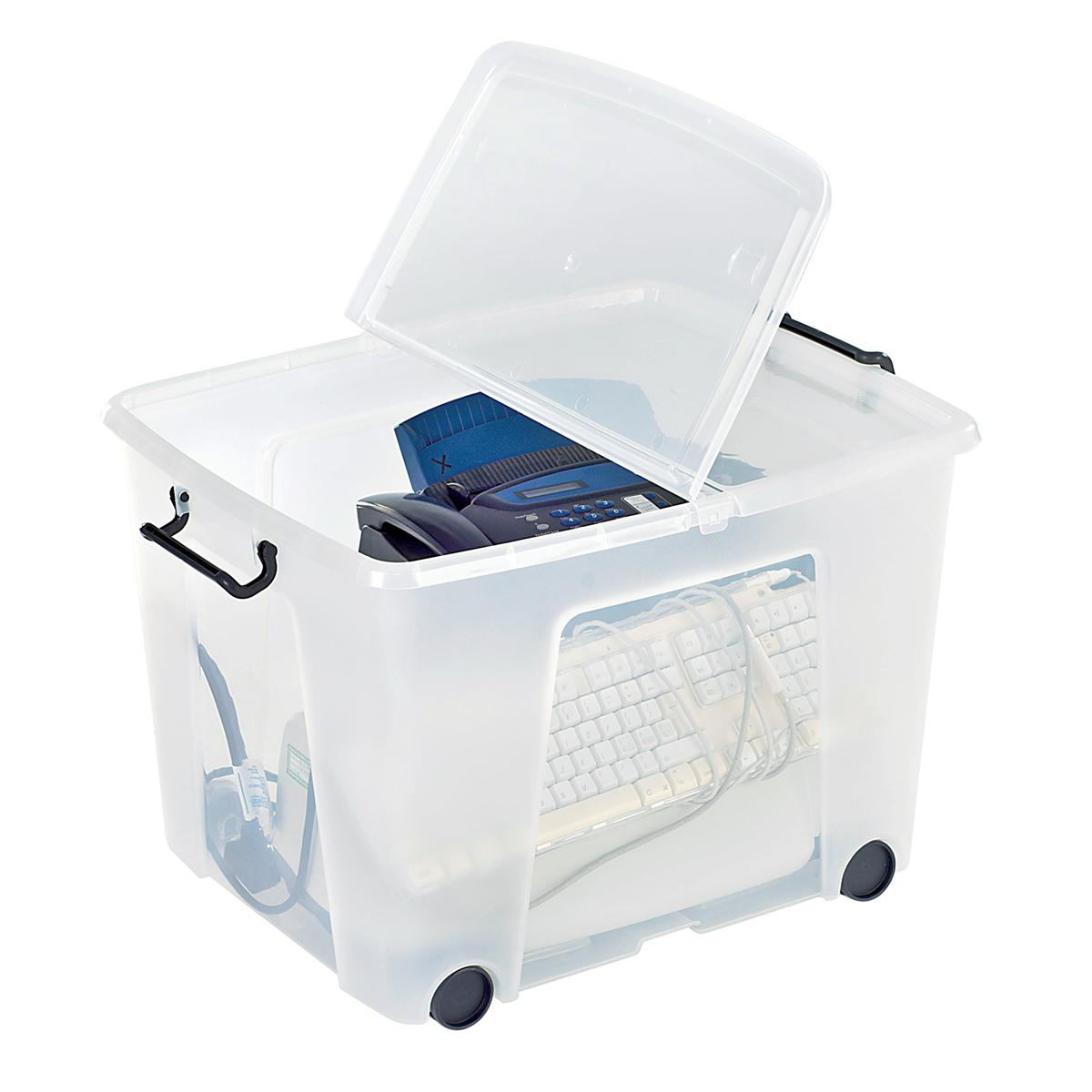 Strata Smart Box Clip-On Folding Lid Carry Handles 75 Litre Clear with Black Wheels Ref HW676CLR