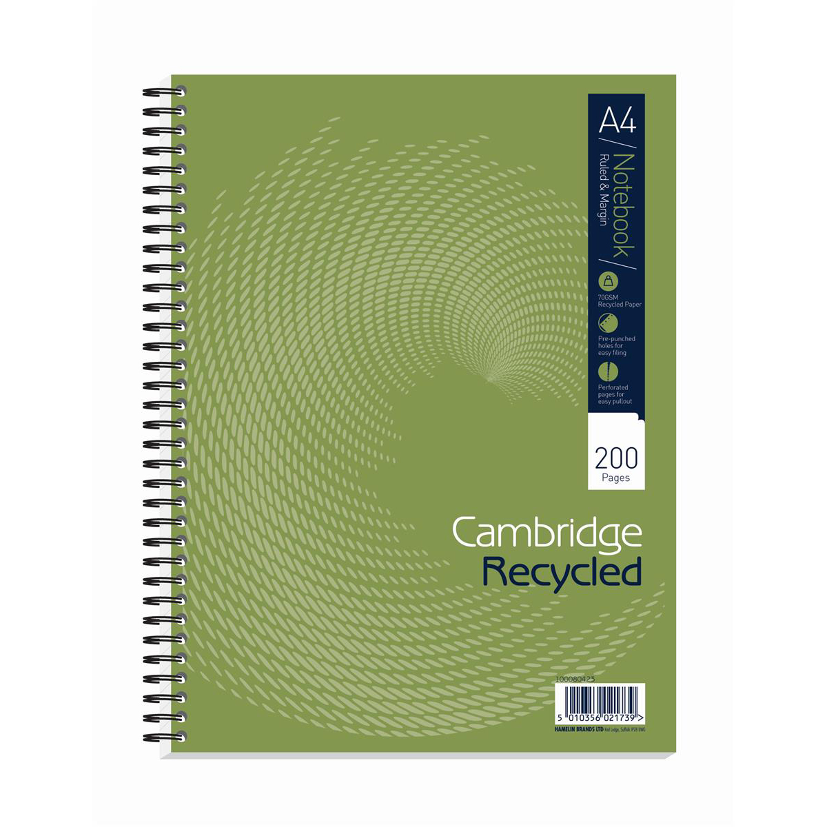 Cambridge Recycled Nbk Wirebnd 70gsm Ruled Margin Perf Punched 4 Holes 200pp A4+ Ref 100080423 Pack 3