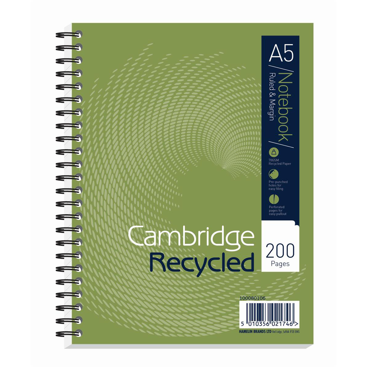 Cambridge Recycled Nbk Wirebound 70gsm Ruled Margin Perf Punched 2 Holes 200pp A5+ Ref 100080106 Pack 3