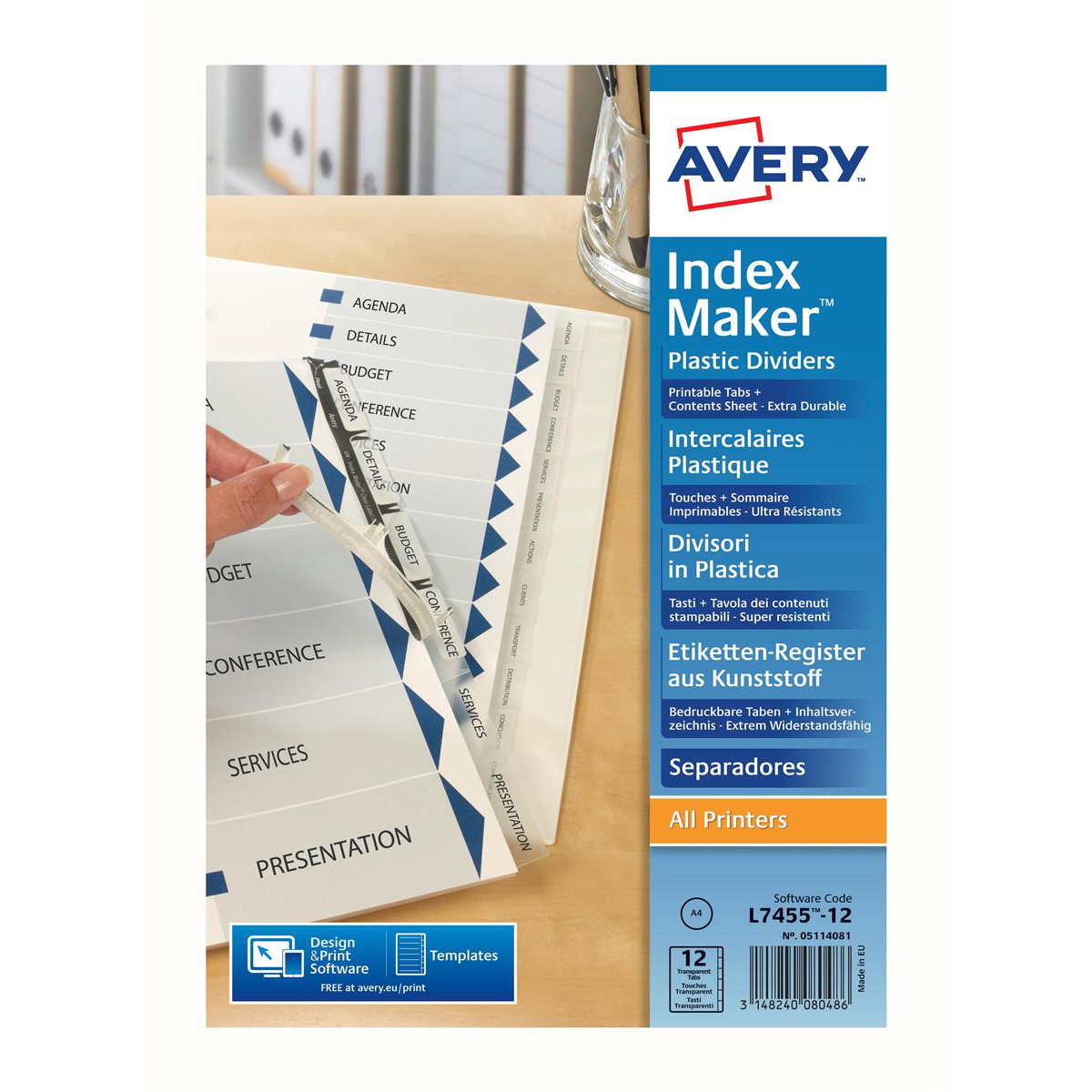 Avery IndexMaker Divider Set Punched 12-Part Ref 01640061.UK