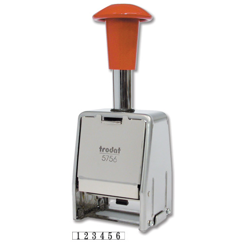 Trodat 5756/M Numberer Stamp Metal Sequential Self-inking 8 Adjustments 5.5mm Digits Ref 86624