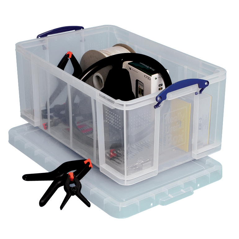 Tool Boxes Really Useful Storage Box Plastic Lightweight Robust Stackable 64 Litre W440xD710xH310mm Clear Ref 64C