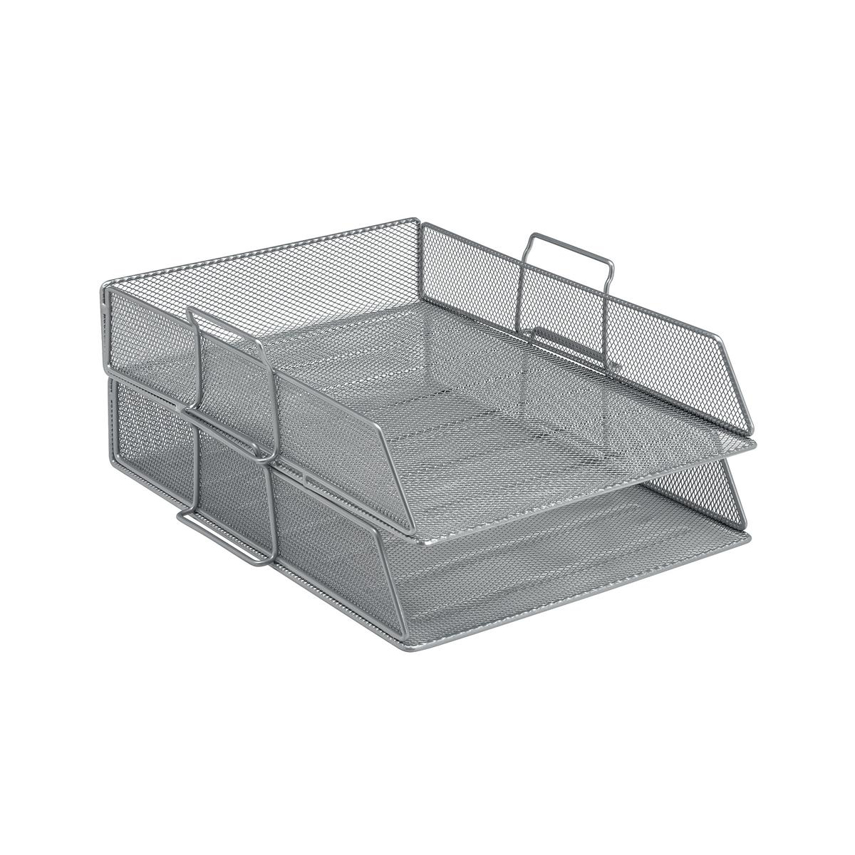Letter Trays 5 Star Office Mesh Letter Tray Scratch Resistant Stackable Front Load Portrait Foolscap Silver