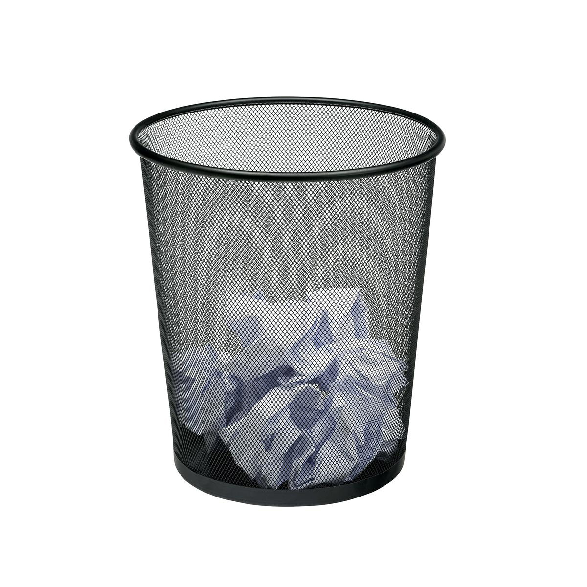 5 Star Office Mesh Waste Bin Lightweight Sturdy Scratch Resistant 15-20 Litres 205x345mm Black