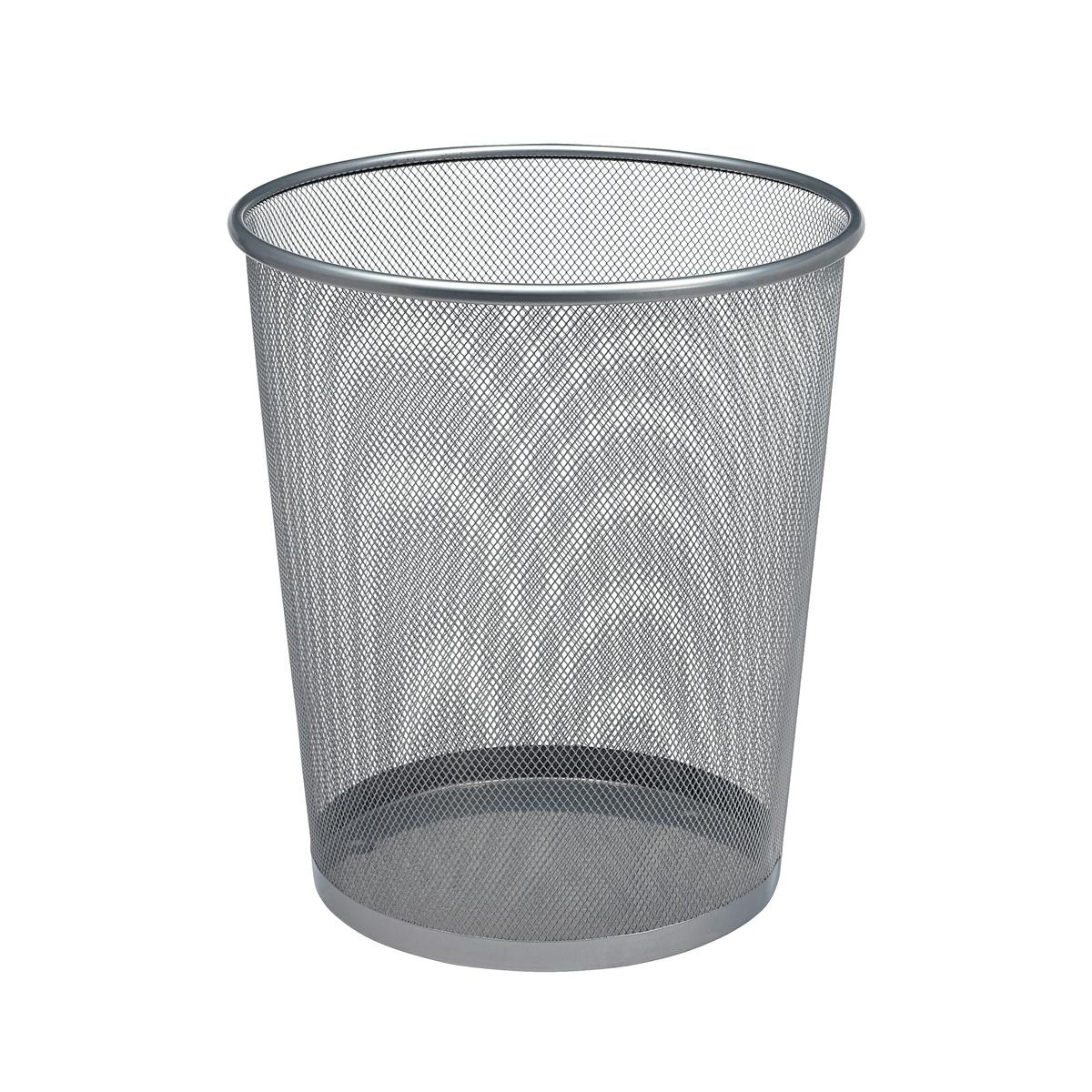 5 Star Office Mesh Waste Bin Lightweight Sturdy Scratch Resistant 15-20 Litres 275x350mm Silver