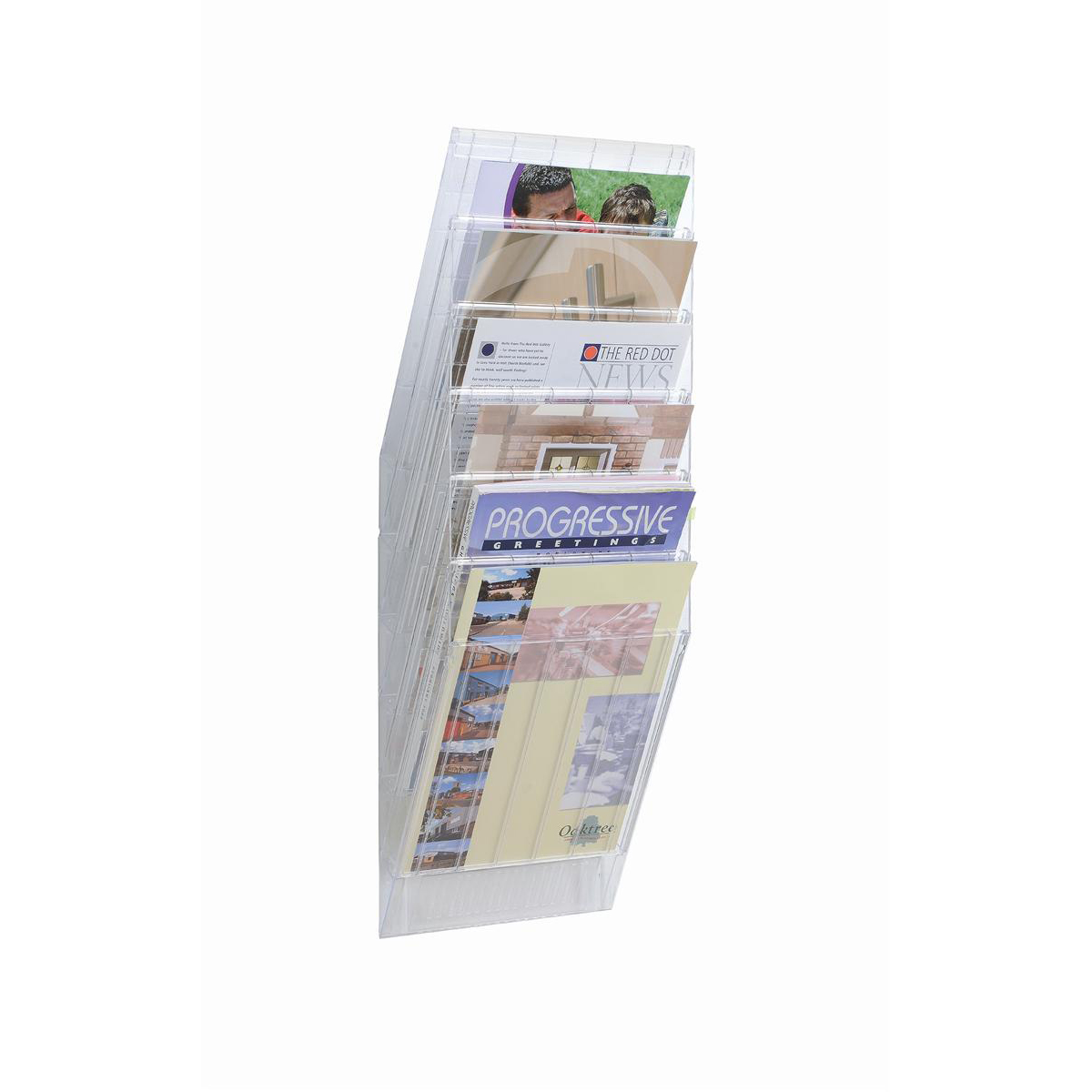 Durable Flexiboxx Literature Holder Wall Mountable 6 Pockets Portrait A4 Clear Ref 1709760400