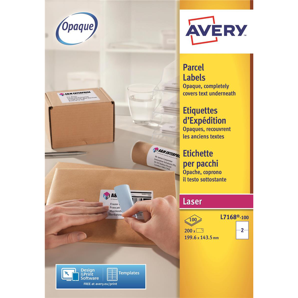 Avery Parcel Labels Laser Jam-free 2 per Sheet 199.6x143.5mm Opaque White Ref L7168-100 200 Labels