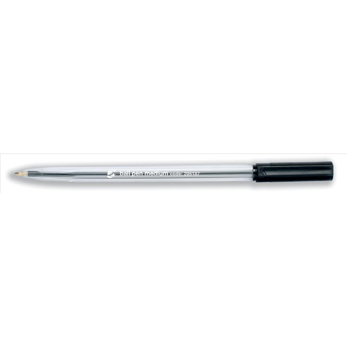 5 Star Office Ball Pen Clear Barrel Medium 1.0mm Tip 0.7mm Line Black Pack 50