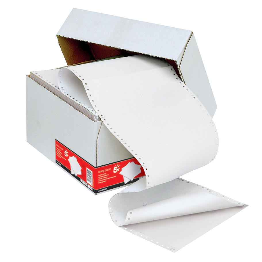5 Star Office Listing Paper 2-Part Carbonless Perf 55gsm 11inchx241mm Plain White/White 1000 Sheets