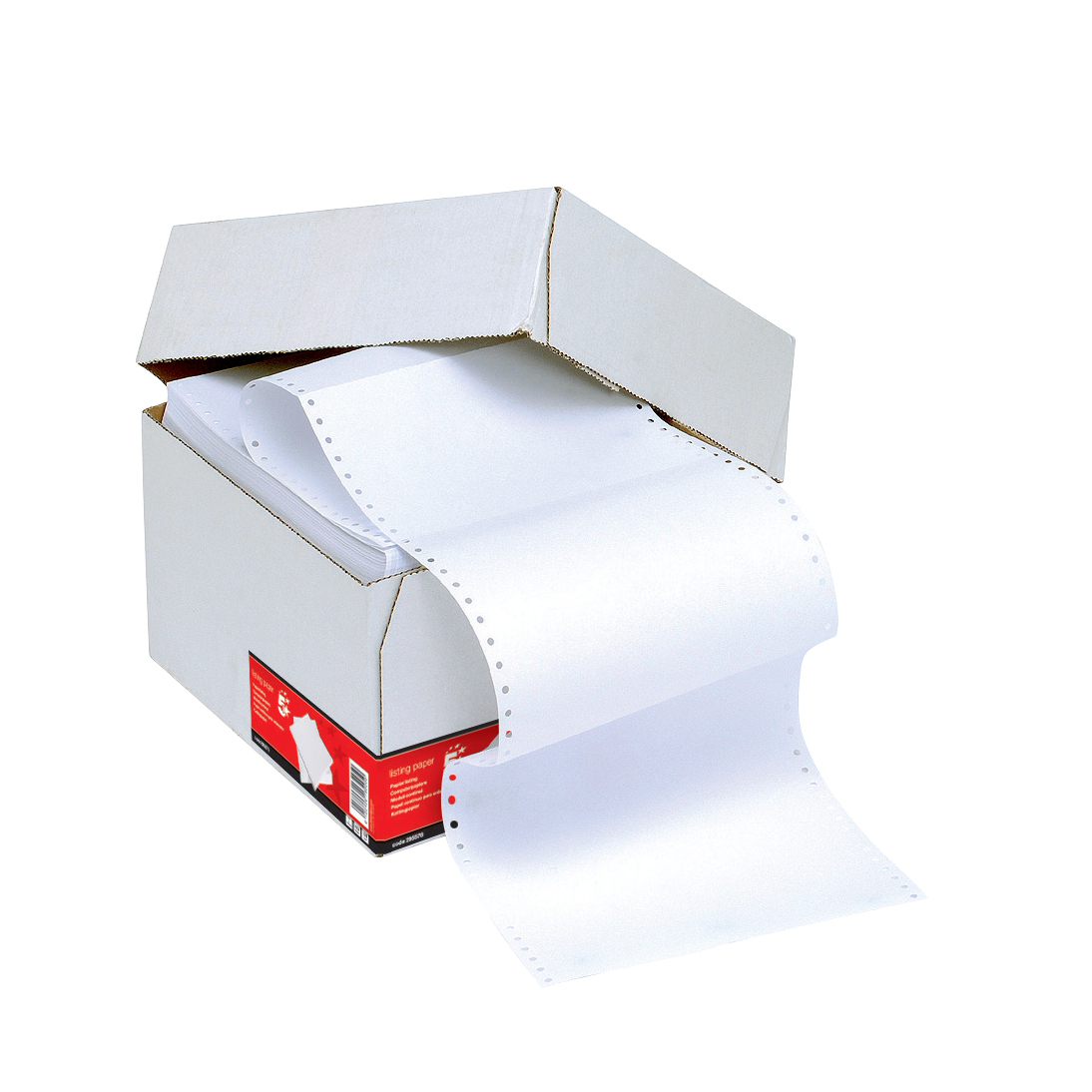 Listing Paper 5 Star Office Listing Paper 1-Part Perforated 60gsm 11inchx241mm Plain 2000 Sheets
