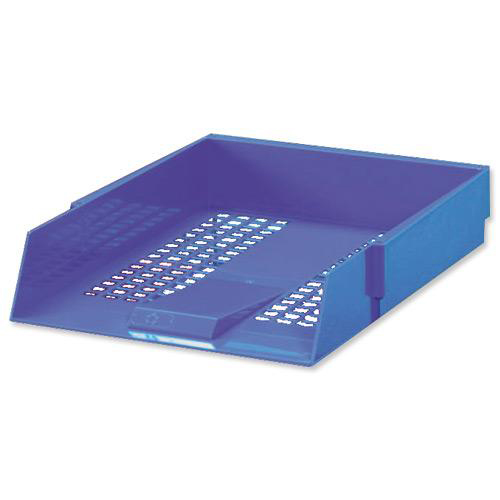 5 Star Office Letter Tray High-impact Polystyrene Foolscap Blue