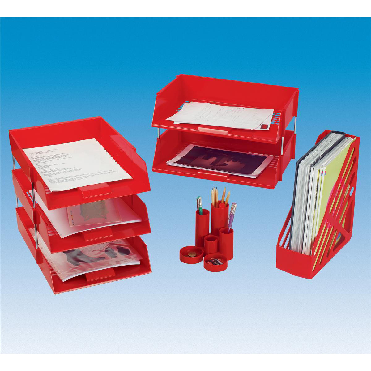 5 Star Office Letter Tray High-impact Polystyrene Foolscap Red