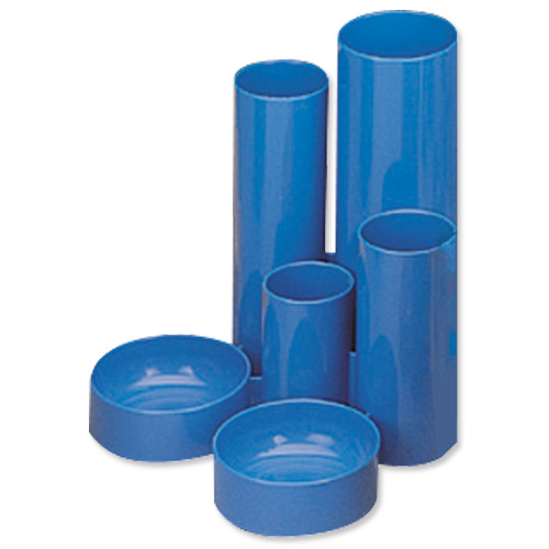Desk Tidies 5 Star Office Desk Tidy with 6 Compartment Tubes Blue
