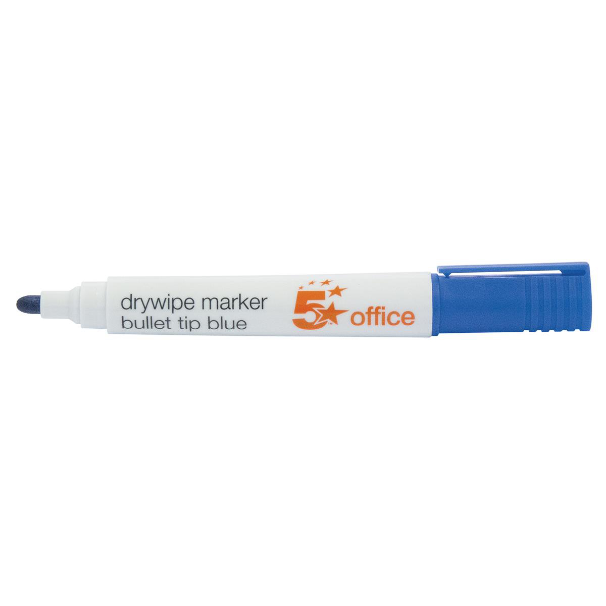 5 Star Office Drywipe Marker Xylene/Toluene-free Bullet Tip 2mm Line Blue [Pack 12]