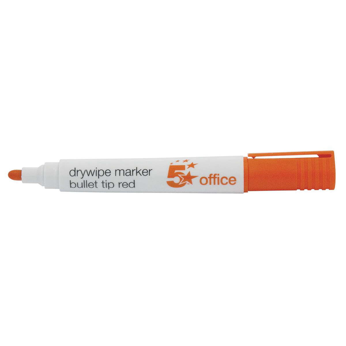 5 Star Office Drywipe Marker Xylene/Toluene-free Bullet Tip 2mm Line Red Pack 12