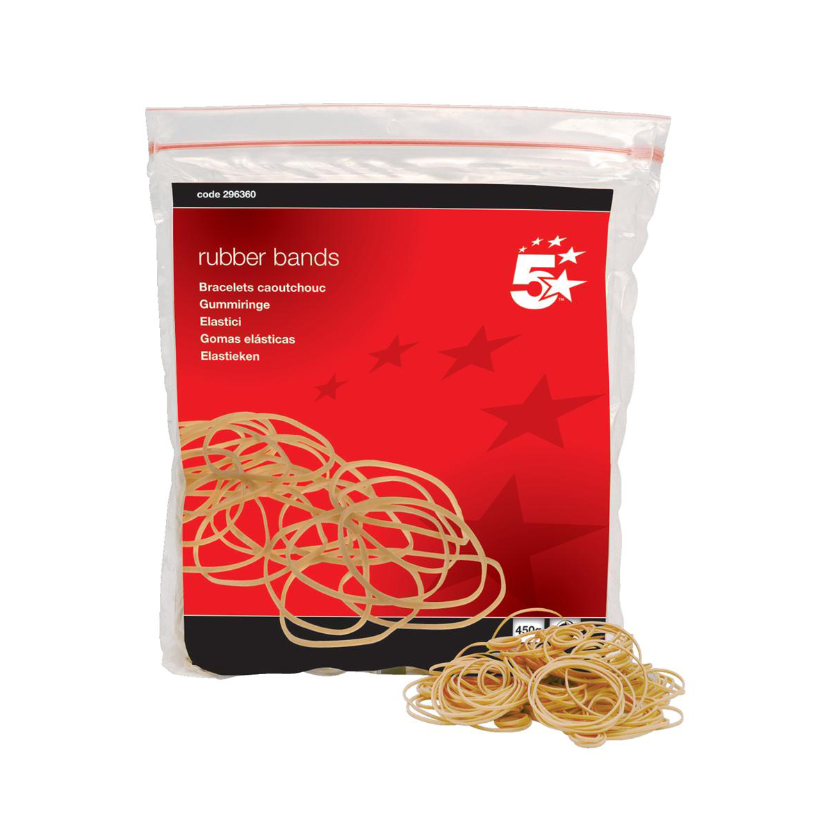 5 Star Office Rubber Bands No.16 Each 63x1.5mm Approx 2000 Bands Bag 0.454kg