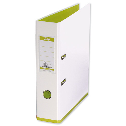 Elba MyColour Lever Arch File Polypropylene Capacity 80mm A4+ White and Lime Ref 100081032