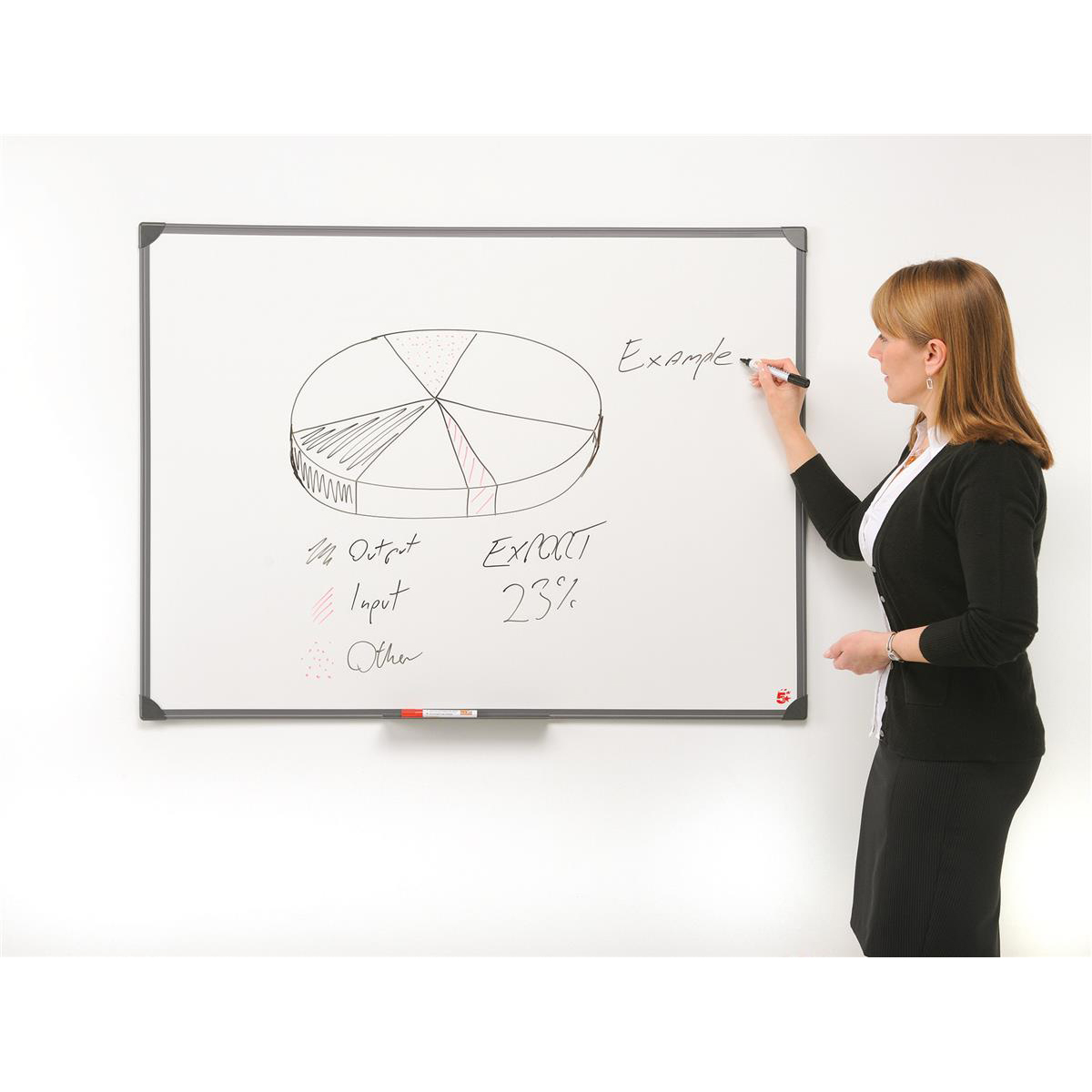 5 Star Office Drywipe Non-Magnetic Board with Fixing Kit and Detachable Pen Tray W1800xH1200mm