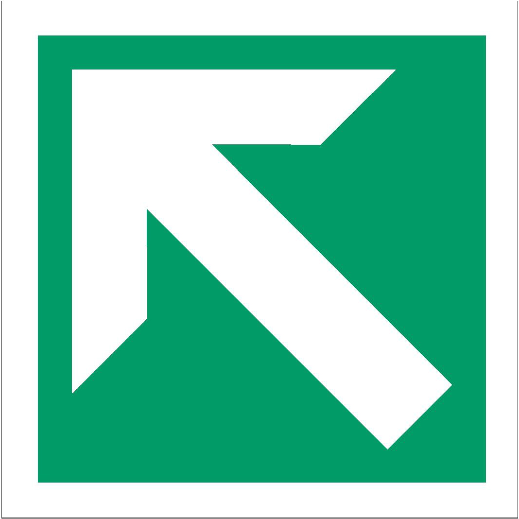 Stewart Superior Fire Exit Sign Arrow Diag & Straight 150x150mm Self-adhesive Vinyl Ref NS009SAV Pack 2