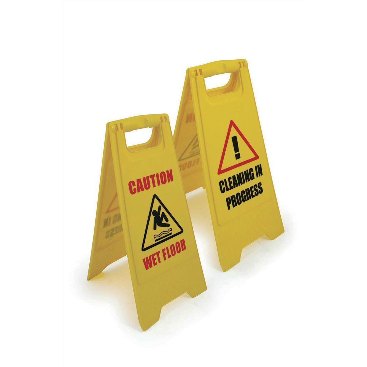 Signs Single A Frame Sign 2 Sided 2 Messages Caution Wet Floor/Cleaning in Progress Yellow
