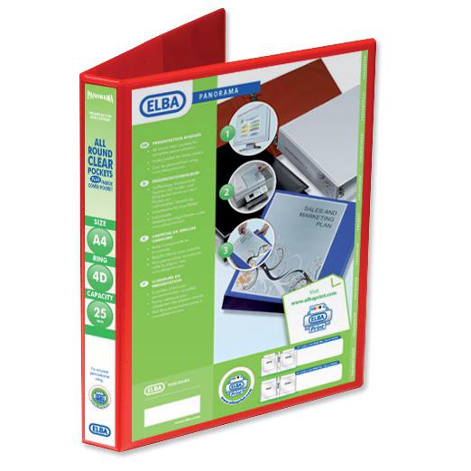 Elba Panorama Presentation Ring Binder PVC 4 D-Ring 25mm Capacity A4 Red Ref 400008506 Pack 6
