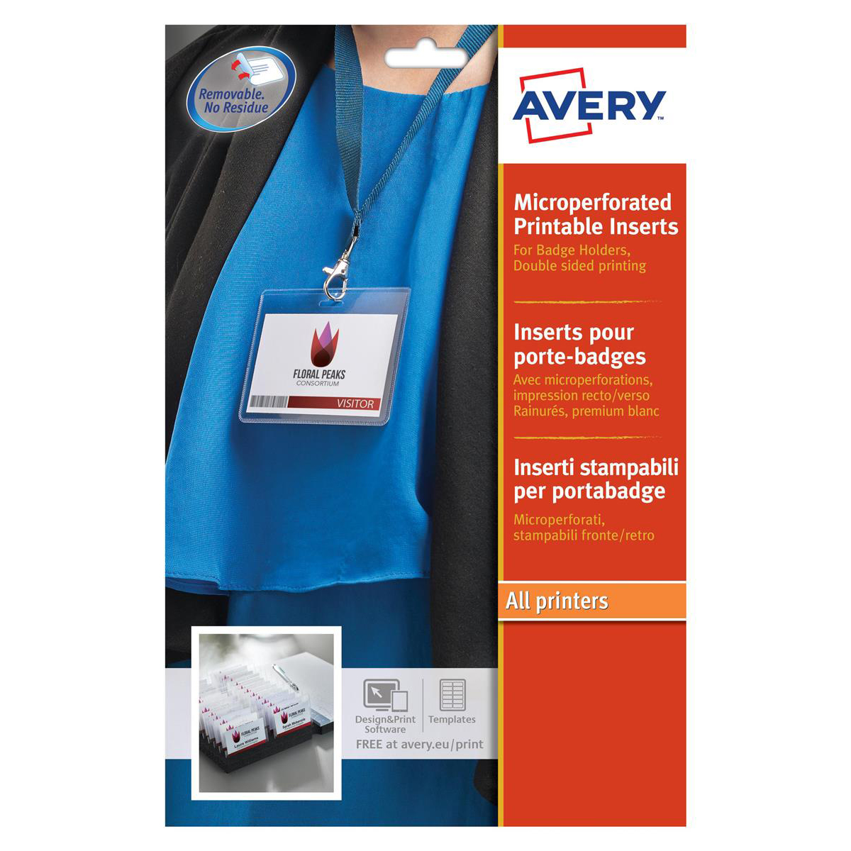 Avery Name Badges Laser-printable Refill Kit 8 per Sheet W86xH55mm Ref L7418-25UK 25 Sheets